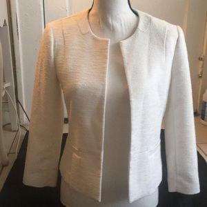 Ann Taylor White Textured Cropped  Blazer
